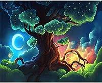 大人のための数字によるDIYオイルペイント初心者キャンバス抽象芸術子供絵画アクリルキットリビングカラーツリー40x50cm