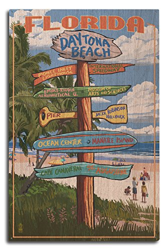 Lantern Press Daytona Beach, Florida - Destinations Sign (10x15 Wood Wall Sign, Wall Decor Ready to Hang)