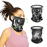 Gaither Mask, Neck Gaiter with Ear Loops for Men Women, Skull Black Gator Face Mask for Men,Cooling Ice Silk Scarf Cover Balaclava,Ideal for Hiking Running Cycling