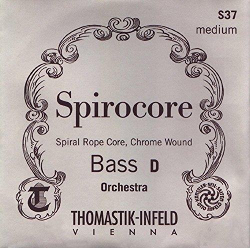 Thomastik Cuerda para Contrabajo 1/2 Spirocore - cuerda Fa sustenido núcleo flexible en espiral, entorchado cromo, afinación para solista, medio