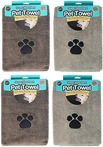 EVERBUY Toallas de Microfibra superabsorbentes para Mascotas, Paquete de 4