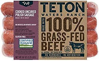 Teton Waters Ranch Uncured Grass-Fed Beef Polish Sausage, 36 ounce (2 Pack, 24 Total Links)