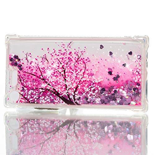 COTDINFOR Compatible with Sony Xperia XZ Premium Custodia Liquid Cases Bling Glitter Sparkle Floating Silicone Shockproof Phone Cover per Sony Xperia XZ Premium Case Cherry Blossoms YB.