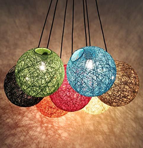 GUANSHAN Plafoniera in rattan Lampada a sospensione a sfera in spago intrecciata a mano Lampadario in stile rurale per bar, caffè, loft, ristorante, soggiorno, (arancione)