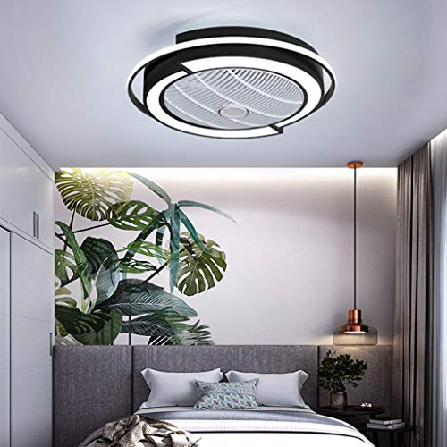Ventilador De Techo LED Con Iluminación Ventilador Invisible Silencioso Luz De Techo Regulable Velocidad Del Viento Ajustable Lámpara De Dormitorio Habitación Niños Dormitorio Sala Estar Araña,Negro