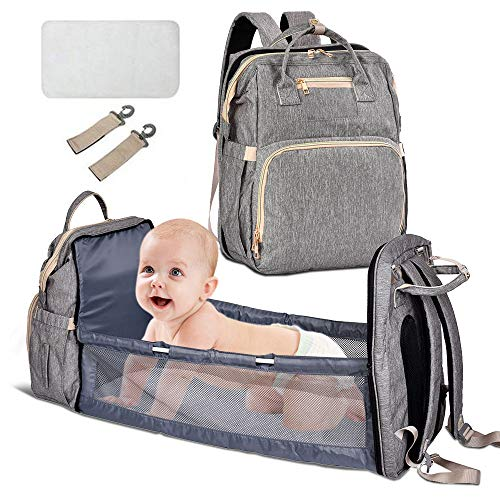 Baby Wickeltasche Bett, 4-in-1 Baby Rucksack Babybettchen Faltbares Multifunktional Große Kapazität Babytasche Reisetasche Kinderbett für Unterwegs, Camping im Freien, Grau