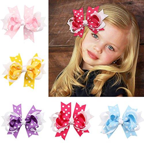 10pc Point blanc Boutique Windmill Style cheveux arcs filles bébé pince crocodile ruban gros-grain bandeaux