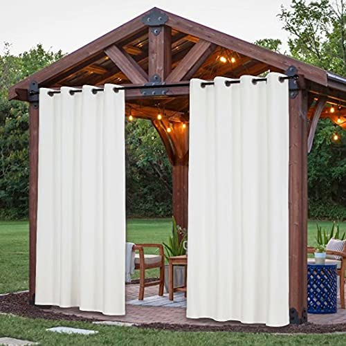 Victree Velvet Indoor/Outdoor Curtains for Patio - 2 Panels Waterproof Windproof Sun Light Blocking Grommet Top Curtain Panel for Pergola, Porch, Deck, Lanai and Cabana, 52 x 84 Inch, Bleach White