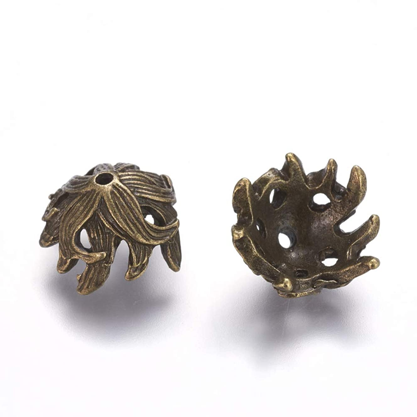 Pandahall 50pcs 10mm Tibetan Alloy Flower Petal Spacer Bead Caps Antique Bronze Lead Free and Nickel Free Antique Mini Metal End Caps for Jewelry Making