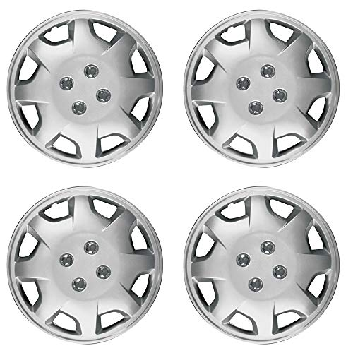 OxGord 15 inch Hubcaps Best for 98-02 Honda Accord - (Set of 4) Wheel Covers 15in Hub Caps Silver Rim Cover - Car Accessories for 15 inch Wheels - Snap On Hubcap, Auto Tire Replacement Exterior Cap