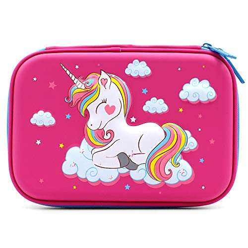 SOOCUTE Flying Unicorn Hardtop Pencil Case with Compartments - Kids Large Capacity School Supply Organizer Students Stationery Box - Girls Pen Pouch Cosmetic Bag (Hot Pink)