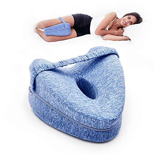 FIT&CANNY Almohada Ortopédica 100% Espuma Viscoelástica para dolores de rodillas, piernas y lumbares. Almohada rodillas para dormir de lado. Cojín para dar alivio al nervio ciático. Cojín embarazo.