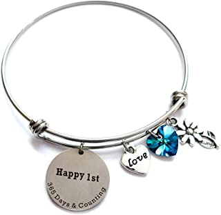 liduola 1st for Her - Happy 1st 365 Days & Counting - Adjustable Bangle Bracelet 1 Year for Wife or Girlfriend