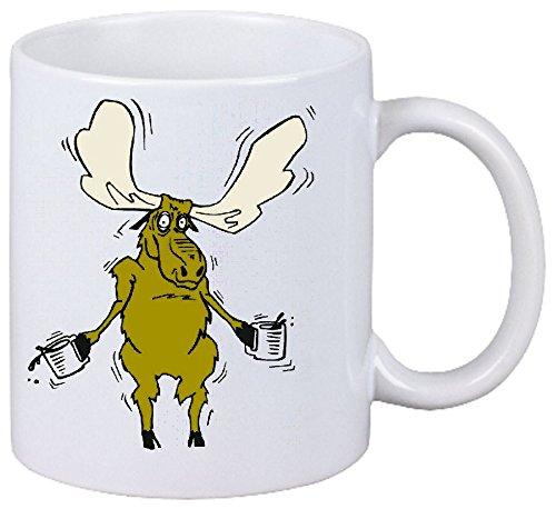 Taza párrafo Café alces de dibujos animados es sacudido Fun Fun Fun Fun serie de películas de culto culto de dibujos animados serie de películas de cerámica Altura 9.5 cm de diámetro de 8 cm de Blanc