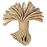 CAIHONG Cuerda de Yute Gruesa Cuerda cáñamo 6mm, Natural Rollo de Cordel Yute para el Hogar, Jardín, Artesanía Artesanal, Decoración (20 Metros)