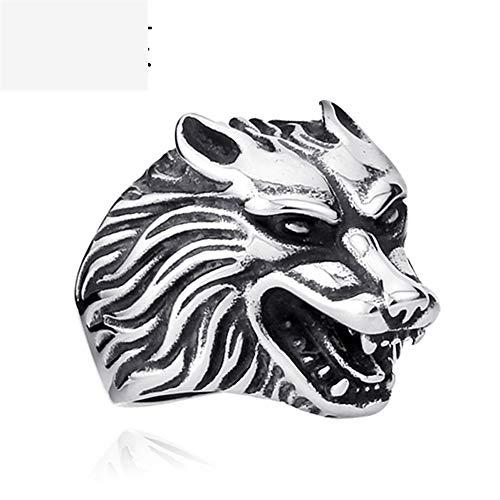 Vintage titanium stalen ring heren wolf ladder persoonlijkheid mode trends creatieve geschenken punk gothic oude eenvoudige 7