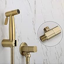 Bidet taps Wall Mounted taps Brushed Gold Corner Hinges Hygienic Toilet Hand washbasin for Shower Car wash Pet Sprayer Airbrush Taps, Champagne Bronze B