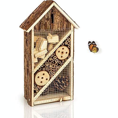 deinTierhaus | Hotel de insectos hecho de materiales naturales - Caja nido y refugio para abejas y otros especies|Casita de bambú y madera19,5x10x37cm- Protección de insectos en tu hogar