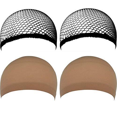4 PC Damen Perücken Kappe Machen Elastische Haarnetz Caps Spitze, Nourich Mesh Net Weaving Cap Verstellbarer Kopf Haar Perücke Gewellte Haare Langhaar Wig Haarteil (4 PC)