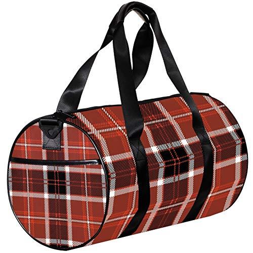 Small Travel Duffel Bag Black And Red Tartan Sports Gym Bag, Canvas Luggage Bag