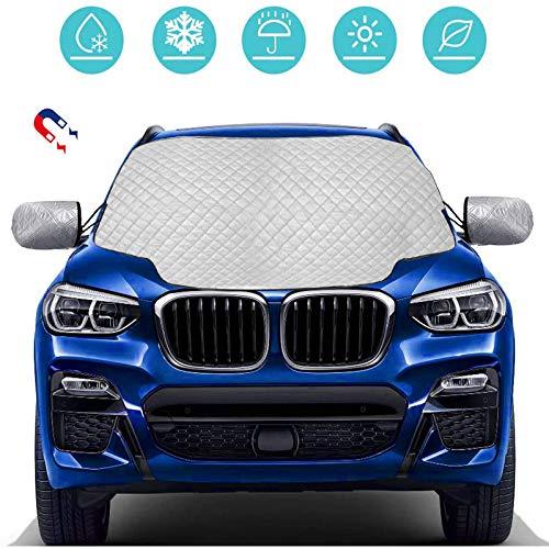 Fenvela, cubierta de parabrisas para coche, protección para parabrisas de invierno, magnética, antihielo, cubierta impermeable para coche, apta para la mayoría de los vehículos.