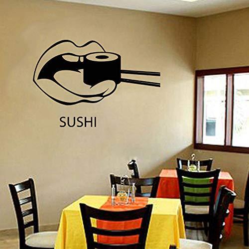 Tatuajes de pared Sushi Comida Japón Oriental Restaurante Pegatinas de Vinilo Arte Mural Decoración para el Hogar Silueta de Vinilo Plantilla 83X57CM