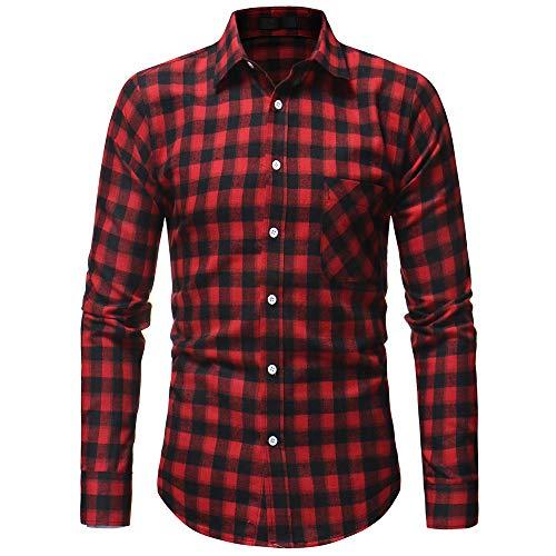 manadlian Homme Chemise Slim en Flanelle à Carreaux Basic Hommes T-Shirts Manches Longues Automne Chemises à Carreaux Haut Repassage Tops Business Loisirs Mariage