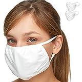 プレミアムエブリデイ マスク - Debrief Me (デブリーフ ミー) 防汚溶解プロピレンと冷感コットンによる3層の保護 - 洗えて再利用可能、快適で折りたたみ式の軽量な防塵マスク (2パック入り)