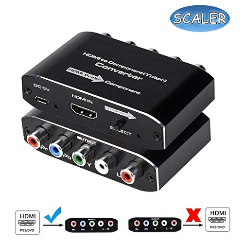 HDMI to Component Converter, HDMI to YPbPr 5RCA RGB Converter with Scaler Function Supports 1080P Video Audio Converter Adapter for TV Stick, DVD, PS3, PS4 Etc