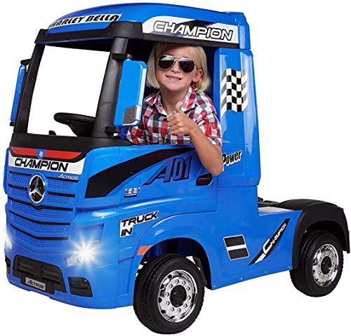 Actionbikes Motors - Camion elettrico per bambini Mercedes Benz Actros Truck LKW - Licenza - motore 4 x 45 Watt - trazione integrale - per bambini da 3 anni (Blu)