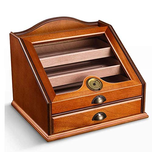 Alysays Desktop W/Hygrómetro: Tiene cigarros de 80-100, higrómetro, deshumidificador, Almacenamiento de particiones de Caja de cigarros