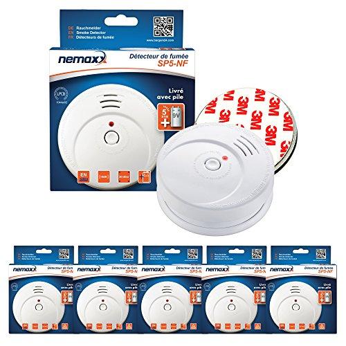 5X Nemaxx SP5-NF Rauchmelder - hochwertiger Rauchwarnmelder mit sensibler fotoelektrischer Technologie nach EN 14604 mit NF-Zertifikat + 5X Nemaxx Magnethalterung