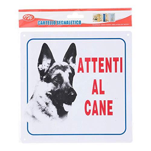 CARTELLO IN PLASTICA, ATTENTI AL CANE, 20X20 CM