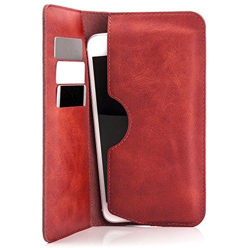 Saxonia Edle Tasche Etui Portemonnaie Premium Hülle Universal für Smartphones von 4 bis 5.5 Zoll für iPhone, Samsung, Huawei & mehr | Rot