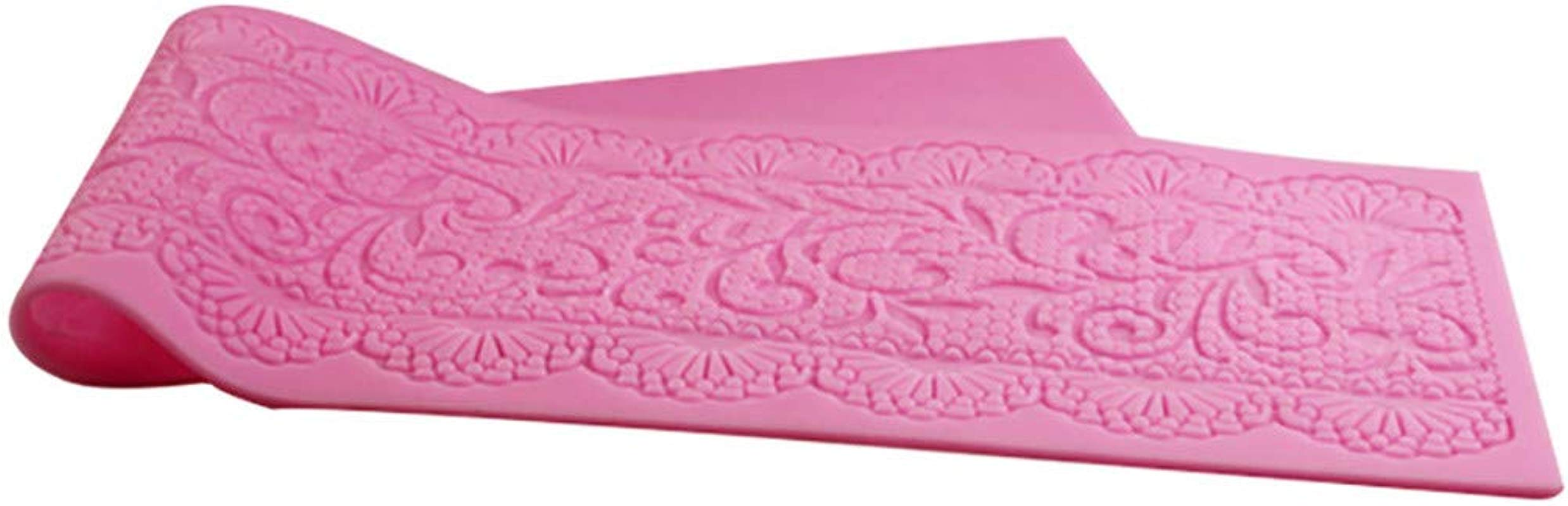 Lace Pattern Embellisment Pink Silicone Mould Cake Decor Sugar Chocolate Mold