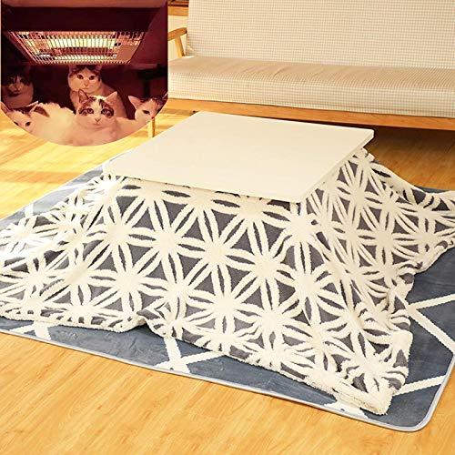 N / A Laptop Bett-Behälter-Tisch, Tatami Beheizte Tisch, Kotatsu Tabelle Set, Japanisch Herd Table Set, mit Plüsch-Decke, Gemütlich Teppich, Kotatsu Heizung, Braun Tisch,White Table