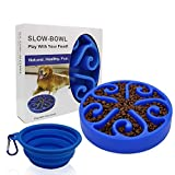 Freefa Slow Feeder Dog Bowl Bloat Stop Dog Food Bowl Maze Interactive Puzzle Non Skid, Come with Free Travel Bowl (Blue2)