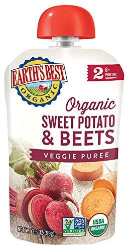 Earth's Best Organic Stage 2 Baby Food, Sweet Potato and Beets, 3.5 oz. Pouch (Pack of 12)