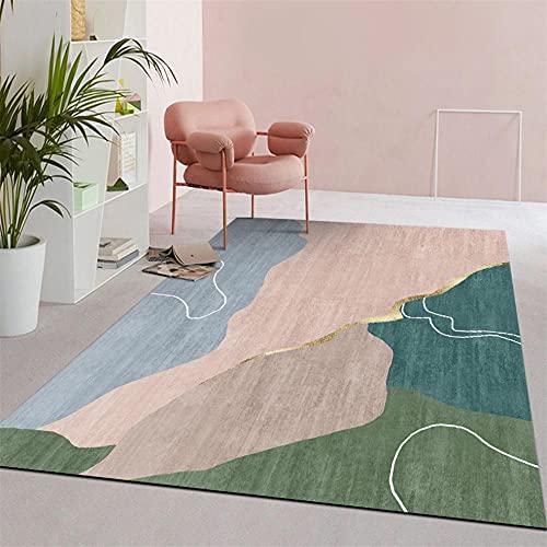la Alfombra Verde Sala de Estar Alfombra Verde Abstracto geométrico Moderno salón Alfombra Suave Alfombra Antideslizante 180X250CM Alfombra Grande Salon 5ft 10.9''X8ft 2.4''