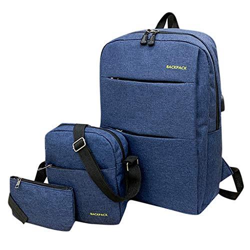 Qiuday Rucksäcke Jungen Schulrucksäcke Canvas Teenager 3-teiliges Set Schultasche Ultraleicht Jugendliche Cityrucksac Schoolbag verschleißfest Schulranzen Und Rucksack Mode Flut einfache schultasch