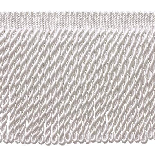 DÉCOPRO 5 Yard Value Pack - 6 Inch Long White Bullion Fringe Trim, Basic Trim Collection, Style BFS6 Color: A1 (15 Ft / 4.5 Meters)