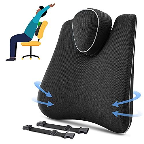 Tusscle Cojin lumbar Coche,Nuevo Respaldo Lumbar Soporte de Esponja Memoria,Almohada de Apoyo Lumbar de Espalda por silla oficina,Golpe extraíble