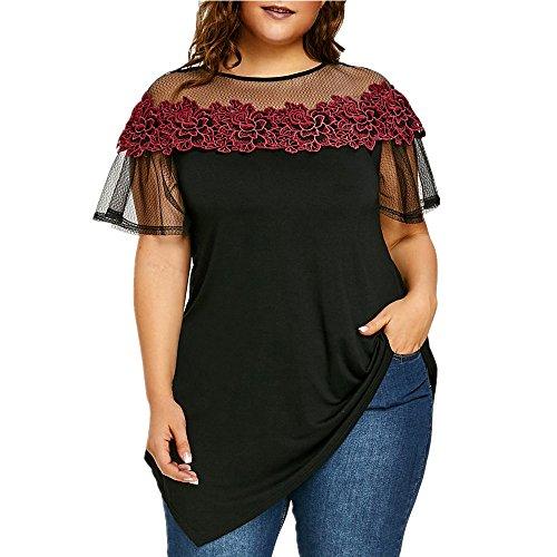 Damen Plus Größe Oberteile Blumen Stickerei Appliziert Asymmetrisch Crew Hals T-Shirts Sommer Casual Spitze Kurzarm Rose Patchwork Sexy Mode Oberteile Groß Blusen (Schwarz, 5XL)