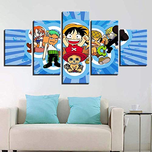 HD Prints on Canvas Picture Paintings 5 Panel Anime Monkey D. Luffy Poster Print Canvas Painting Wall Decor for Home Decor,E,20x352+20x452+20x551