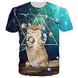 RAISEVERN Camisetas Graciosas Hombre Manga Corta Camiseta Chulas T Shirt Cat 3D Tshirt XXL