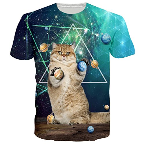 RAISEVERN T Shirts Herren Planet Katze Top 3D Druck Short-Sleeved Shirt Coole T-Shirts für Männer L