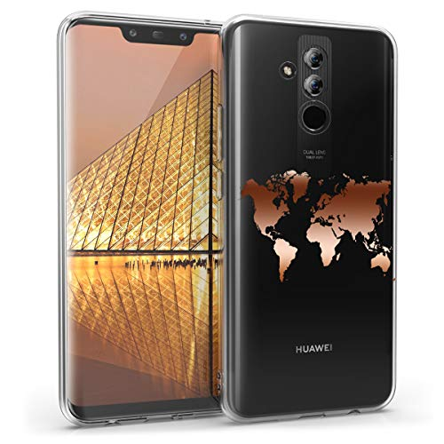 kwmobile Hülle kompatibel mit Huawei Mate 20 Lite - Handyhülle - Handy Case Travel Umriss Rosegold Transparent