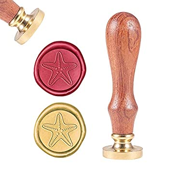 CRASPIRE Wax Seal Stamp Wax Sealing Stamps Starfish Vintage Wax Seal Stamp Retro Wood Stamp Removable Brass Seal Wood Handle for Wedding Invitations Embellishment Bottle Decoration Gift Packing