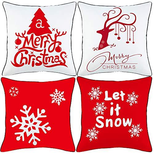 Comoco Natale Serie Cuscino Copertina Cotone Biancheria 18' x 18' 45cm x 45cm,Set di 4-Natale con Nero Tubatura No.2