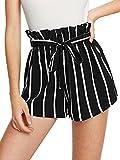 SweatyRocks Women's Casual Elastic Waist Striped Summer Beach Shorts Black White XS
